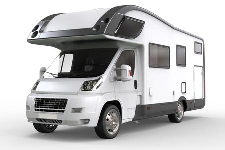 白い背景に分離された白いキャンピングカー車両 - スタジオ照明クローズ アップ ショット- 写真素材
