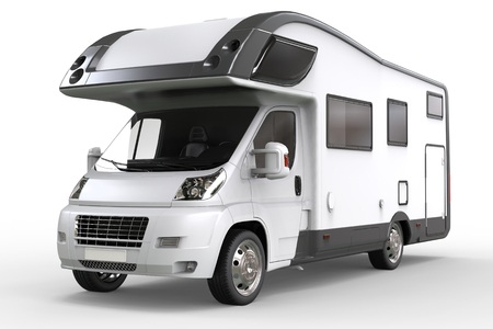 White camper vehicle - studio lighting closeup shot - isolated on white background Banque d'images