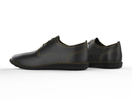 brogue: Pair of black oxford shoes with yellow stitching - side view - isolated on white background