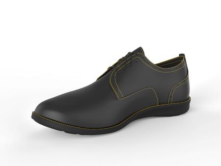 oxford: Stylish black oxford shoe with yellow stitching - studio shot - isolated on white background