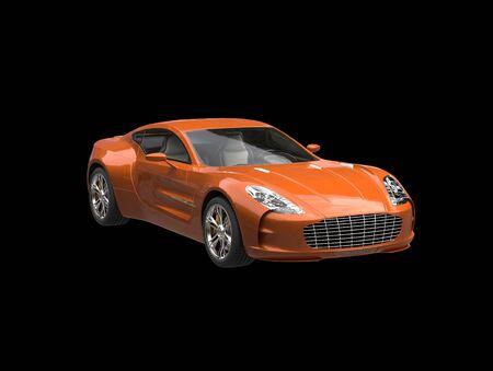 sportscar: Orange sportscar - isolated on black background Stock Photo