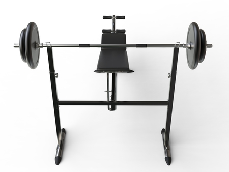 to incline: Incline bench with barbell weight - top back view - on white background