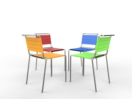 facing each other: Four colorful chairs facing each other - on white background - 3D render