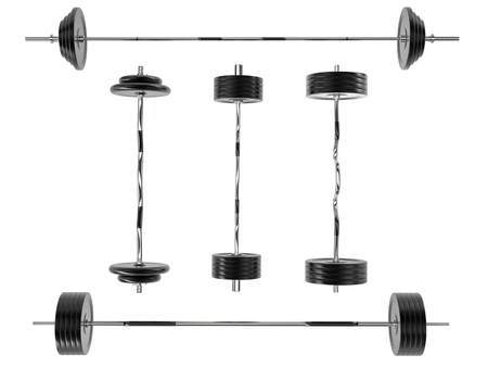 handle bars: Barbell weights with standard and weight plates as well as different handle bars -on white background - 3D render