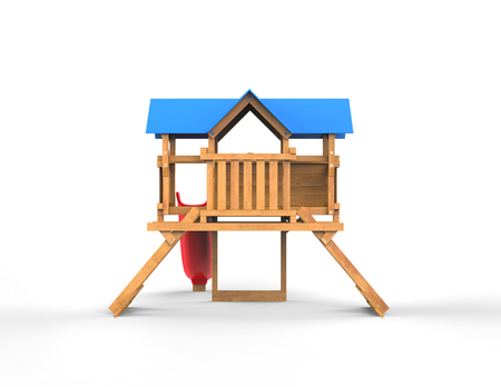 kindergarden: Kids wooden playhouse with red slide and blue roof - back view - isolated on white background - 3D render