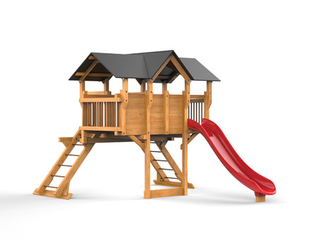 playhouse: Kids wooden playhouse with red slide and black roof - on white background - 3D render