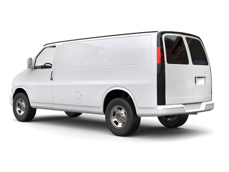 Modern white van - side tail view - isolated on white background - 3D illustration