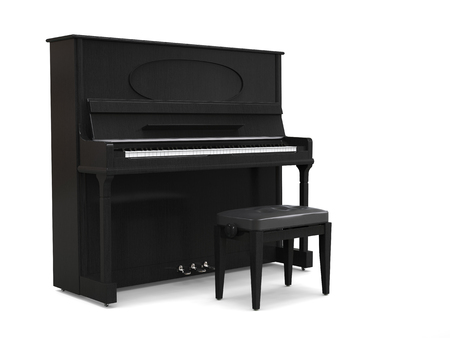 Small upright piano with piano bench - on white background - 3D render Imagens