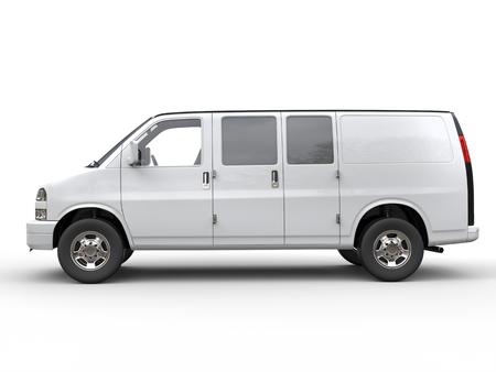 motor de carro: Moderna furgoneta blanca - vista lateral - aislada en el fondo blanco - ilustraci�n 3D Foto de archivo