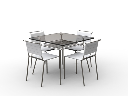 strapped: Glass table with cloth strapped chairs - on white background - 3D render Stock Photo