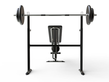 to incline: Incline bench with barbell weight - back view - on white background