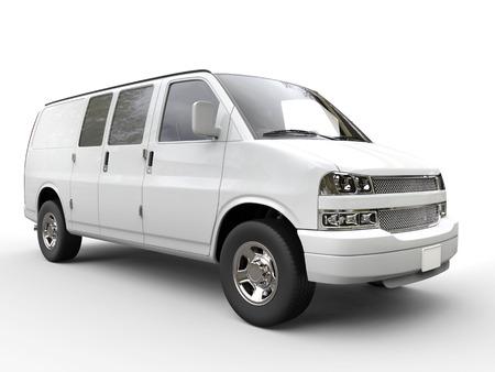motor de carro: White van closeup - isolated on white background - 3D render