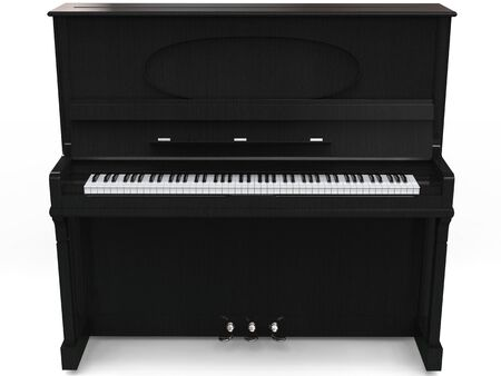 upright piano: Beautiful upright piano - isolated on white background - 3D render Stock Photo