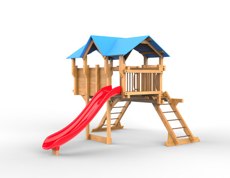 playhouse: Kids wooden playhouse with red slide and blue roof - isolated on white background - 3D render