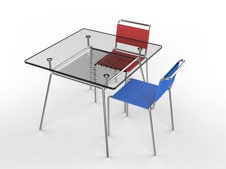 白い背景の 3 D レンダリングの分離 - 青と赤の椅子と小さなガラス テーブル