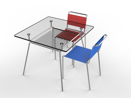 Small glass table with blue and red chairs - isolated on white background - 3D render