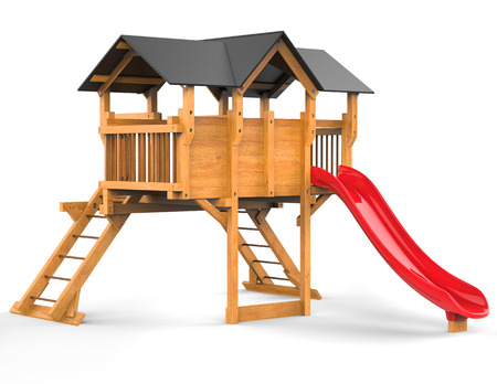 playhouse: Kids playhouse with red slide - isolated on white background - 3D render