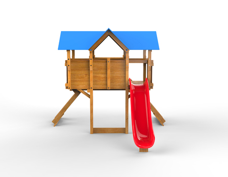 playtime: Kids playhouse - with red slide - isolated on white background - 3D render
