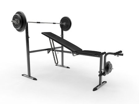 to incline: Incline gym bench with barbell weight and additional weight plates - studio shot
