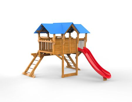 playhouse: Kids playhouse - isolated on white background - 3D render