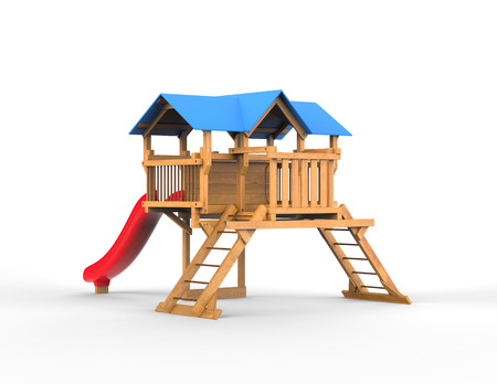 kindergarden: Kides playhouse made out of wood with blue roof - on white background - 3D render Stock Photo