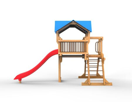 playhouse: Kids wooden playhouse with red slide and blue roof - side view - isolated on white background - 3D render Stock Photo