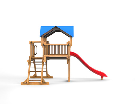playhouse: Kids wooden playhouse with red slide - isolated on white background - 3D Render Stock Photo