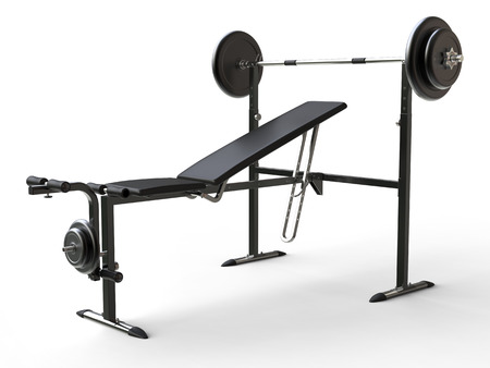 to incline: Incline gym bench with barbell weight and additional weight plates - on white background