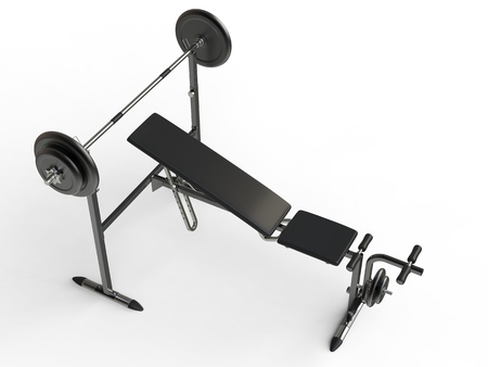 to incline: Incline bench with barbell weight - top perspective view - on white background Stock Photo