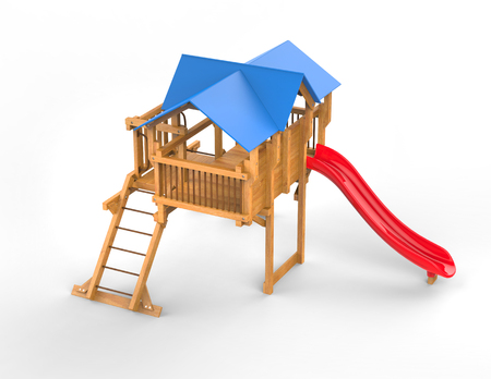playtime: Kids wooden playhouse with red slide and blue roof - top view - isolated on white background - 3D render