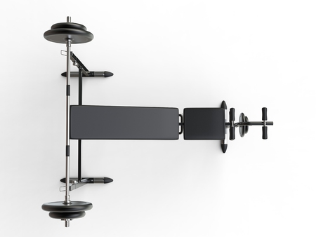 to incline: Incline bench with barbell weight - top view - on white background