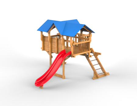 playhouse: Kids playhouse - studio shot - isolated on white background - 3D render Stock Photo
