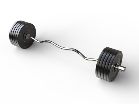 bar top: Big barbell weight with curved bar - top view - isolated on white background - 3D illustration