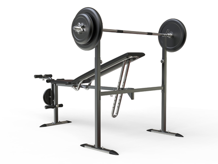 to incline: Incline bench with barbell weight - rear perspective view - on white background Stock Photo