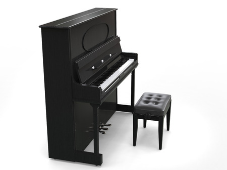 Small upright piano with piano bench - on white background - side view - 3D render Standard-Bild
