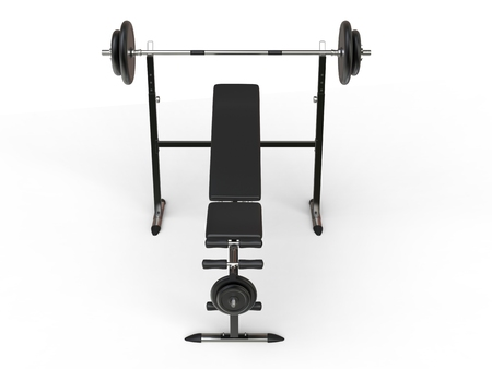 to incline: Incline gym bench with barbell weight and additional weight plates - top front view - on white