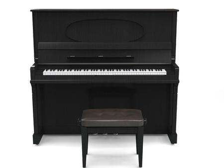 アップライト ピアノと白い背景の 3 D レンダリングの分離 - 小さなピアノのベンチ