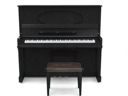 Upright piano and small piano bench - isolated on white background - 3D render
