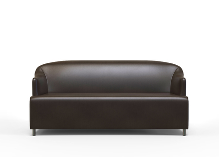 brown leather sofa: Brown leather sofa - on white background - 3D render