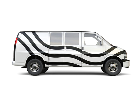 motor de carro: White van with black racing stripes - isolated on white background - 3D illustration