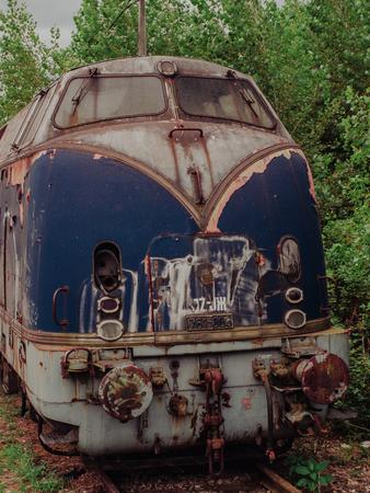 derelict: Old rusty derelict locomotive from the fifties Stock Photo