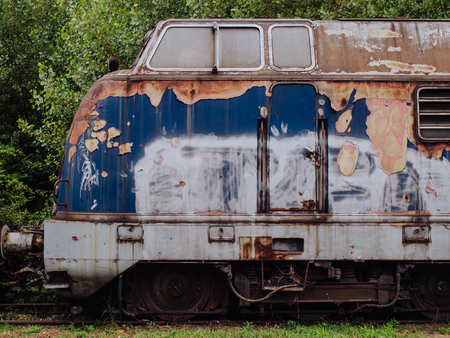 derelict: Nose of the derelict train locomotive Stock Photo