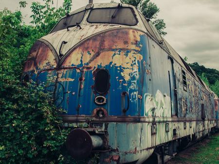 urban decay: Urban decay - Blue train locomotive