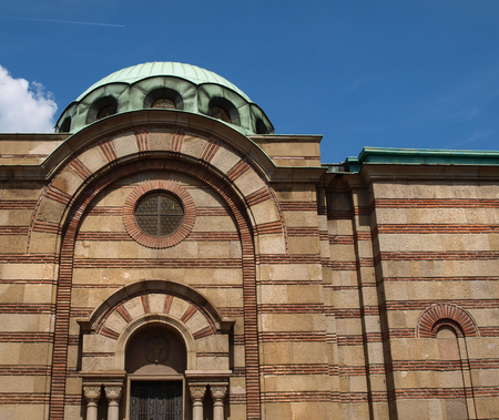 Old stone and brick cemetary church, Belgrade, Serbia Stock Photo