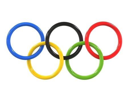 オリンピック リング - 光沢のある仕上げ - 3 D イラストレーション 写真素材 - 62235368