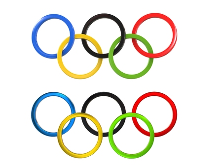 olympic ring: Olympic games symbol - two variations of the famous symbol - 3D Illustration