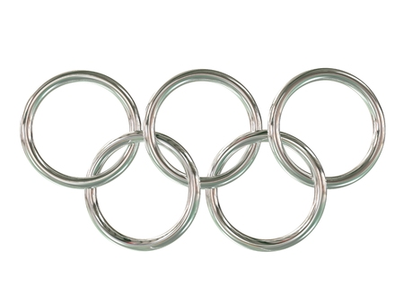 olympic games: Olympic games rings - chrome metal - 3D Illustration
