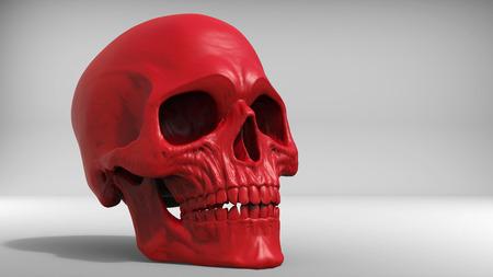 studio shot: Red skull studio shot - 3D Illustration