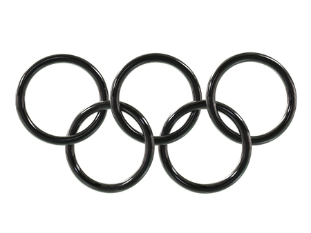 olympic rings: Olympic rings - black - 3D Illustration Editorial