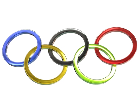 olympic ring: Olympic rings - metallic - on white background - 3D Illustration
